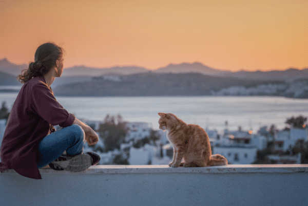 a woman and cat sitting in front of the sunset with snow