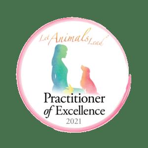 logo for kathleen prasads let animals lead practitioner of excellence logo