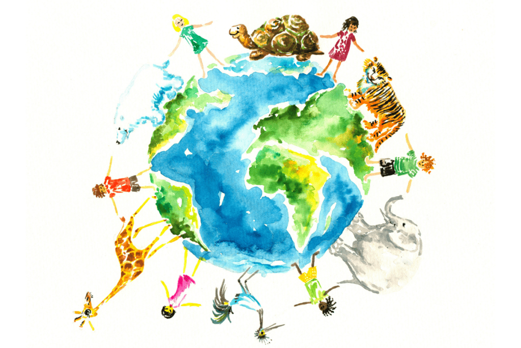 a painting of a planet surrounded by people and animals