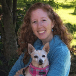 SARA Teacher Amber Shaner holding her small dog